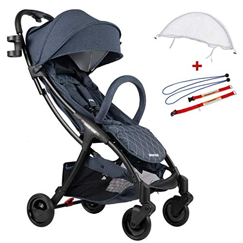 Compact Stroller 2020 Ultra Lightweight Baby Stroller + Universal Mosquito Net + Universal Car Seat Adapter Blude Jeans & White