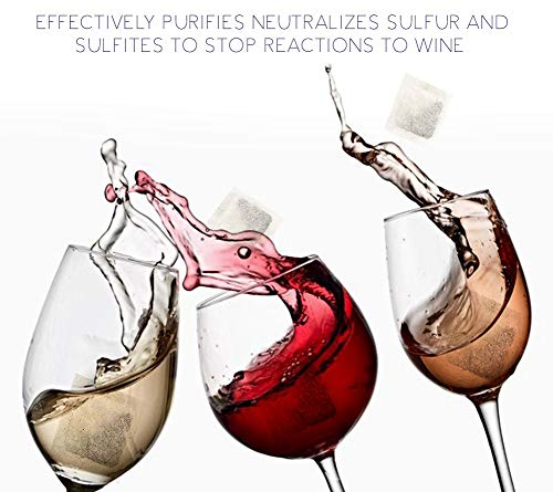 NEW Organic Wine Allergy Sensitivity Prevention Wine Sulfite Remover with All Natural Ingredients Better Than Hangover Prevention Remedies & Wine Filters Stops Red Wine Headaches Nausea IBS (18 Packs) by Wine Sensitive (Image #1)