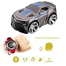 Buenotoys Rechargeable Voice Control Toy Vehicle Race Car Voice Command by Smart Watch Creative Voice-activated Remote Control RC Car ?Grey?