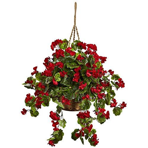 Nearly-Natural-Red-Geranium-Hanging-Silk-Plant