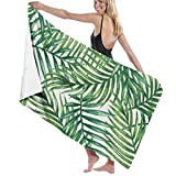 Premium 100% Polyester Fiber Tropical Palm Leaves Bath Towel by Quick Dry Towel for Shower Hotel Spa Sports Travel Yoga Hiking