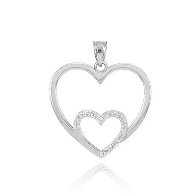 05aafec01f45f Amazon.com: 10k White Gold Diamond Pave Love Double Open Heart Charm Pendant:  Jewelry