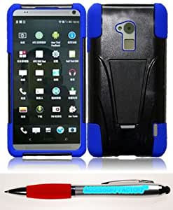 Accessory Factory(TM) Bundle (the item, 2in1 Stylus Point Pen) For HTC One max T6 T-Stand Cover Case - Black+Blue