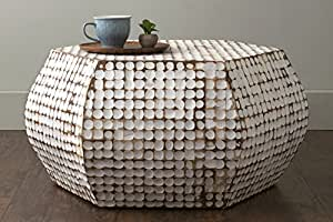 East at Main Delmont White Coconut Shell Inlay Hexagon Coffee Table, (33x38x18)