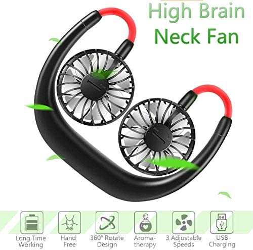 Portable Sports Neck Hanging Fan,USB Rechargeable 2000mAh Hands-Free Mini Fan, Pocket Fan, Earphone Design Mini USB Fan,Wearable Necklance Fan With LED Double Wind Head 3 Speeds, Quiet, Rechargeable P