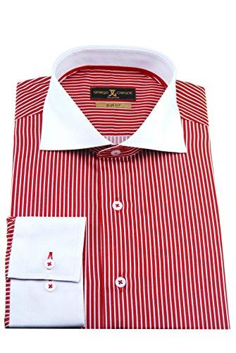 Giorgio Capone Herrenhemd, 100% Baumwolle, weiß-Rot-gestreift, Haifischkragen, Langarm, Slim/Normal & Regular-Plus Fit