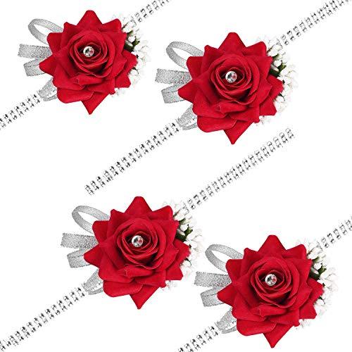 (DearHouse 4 Pack Rose Wrist Corsage Wristband, Velvet Open Rose Silvery Bling Ribbon Rhinestone Stretch Bracelet Wedding Prom Wrist Corsage Hand Flower, Red)