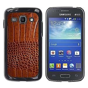 Be Good Phone Accessory // Dura Cáscara cubierta Protectora Caso Carcasa Funda de Protección para Samsung Galaxy Ace 3 GT-S7270 GT-S7275 GT-S7272 // Brown Leather Skin Imitation Faux