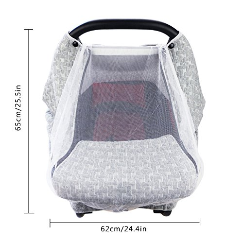 PROKTH Baby Stroller Gray Air Layer Mosquito Net, Sun Protection Sunshade Heat Insulation Cooling Polyester Cotton Cover Towel Sunshield by PROKTH (Image #4)