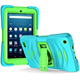 """Amazon Fire 7"""" 2017 Case, EpicGadget 7th Generation Fire 7 Heavy Duty Hybrid Wave Case Full Protection Cover with Kickstand and Built-in Screen Protector For Amazon Fire 7 (2017) (Blue/Green)"""