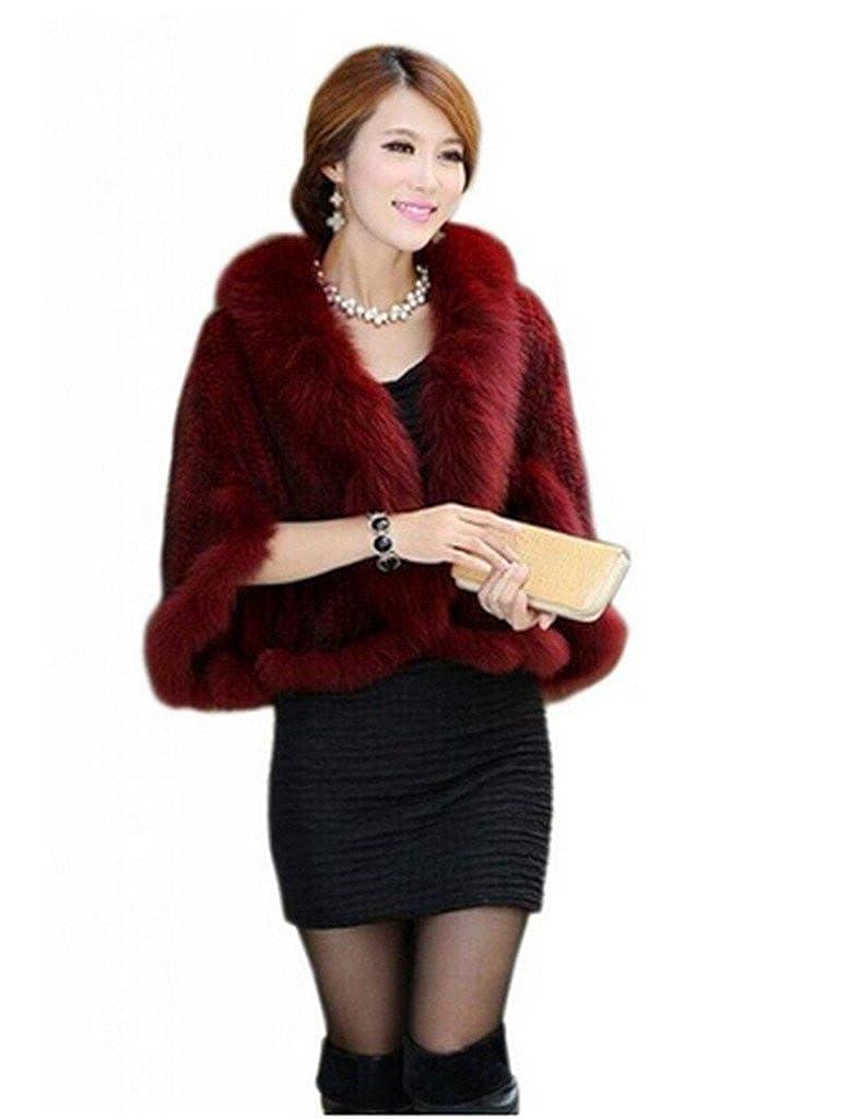 YR Lover Women's Real Mink Fur Warm Stole Cap With Big Fur Collor False YRLF01-Black