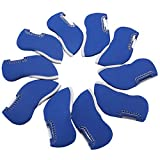 10pcs Neoprene Golf Iron Club Covers See Through Window Head Cover(Blue)