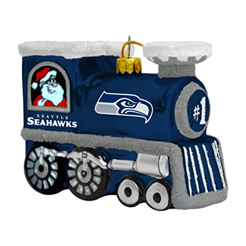 NFL Seattle Seahawks Blown Glass Train Ornament