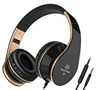 Headphones, Sound Intone I65 Foldable Headphones with Microphone, Volume Control, Adjustable Headband, Cute Headset for Travel, Work, Sports, Compatible with Iphone Laptop Computer Mp3