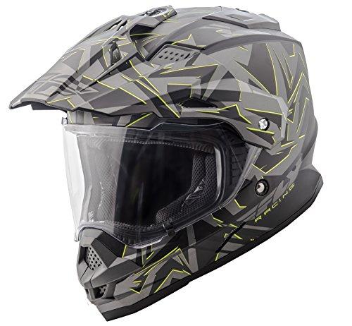 Fly Racing 73-7015L Unisex-Adult Full-Face-Helmet-Style F2 Mips Retrospec Helmet (Matte Grey/Hi-Vis, Large)