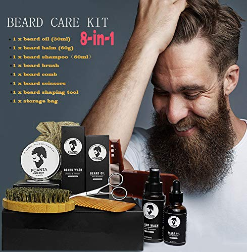 Beard Kit For Men Gift Beard Oil Growth Shampoo Natural Beard Balm Sandalwood Grooming Beard Care Set Comb Wood And Brush 8 in ()