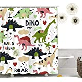Autien Cartoon Shower Curtain, Waterproof Under the Sea Tropical Fishes Coral Dinosaur Fabric Bathroom Decor with Hooks for Kids and Baby 70.8''×78.7'' (Dinosaur 2)