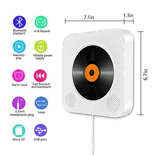 Portable Bluetooth CD Player, Wall Mountable Compact CD Player with  Built-in HiFi Speakers/LED Display/FM Radio/Remote Control/AUX Input  Output, Home