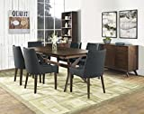 Coastlink Hawaii Walnut Extension Dining Set For 6 - Curve Back Chairs Steel Fabric