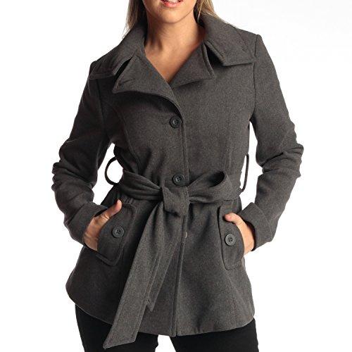 Peacoat Jacket Blazer (Womens Belted Blazer Alpine Swiss Wool Blend Hot Convertible Funnel Neck Collar, Gray Large)