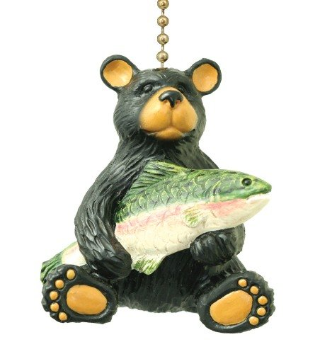 Black Bear with Bass Lodge Cabin Ceiling Fan Pull Lamp Ornament ()
