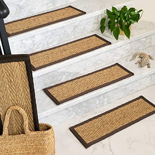 (NaturalAreaRugs 100% Natural Fiber Beach, Seagrass Sage, Handmade Stair Treads Carpet Set of 13 (9