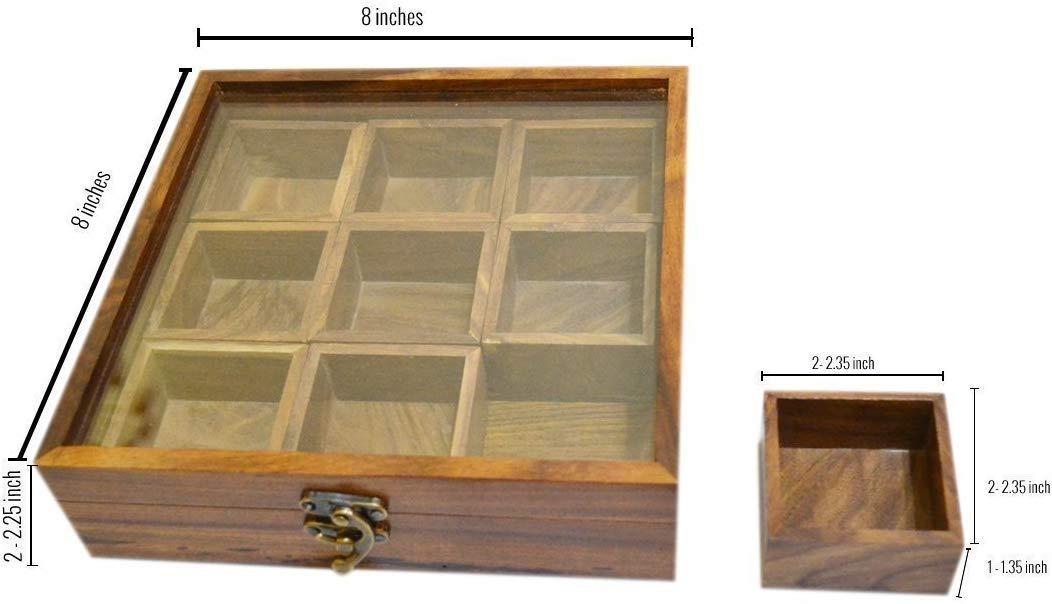 Caja para especias de madera nuevo dise/ño superior hoja de cristal para especias recipiente para especias caja de especias con dos cuchara Bhartiya artesan/ía