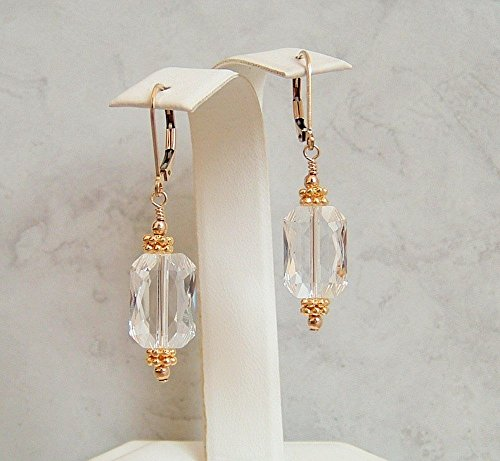 Clear Rectangle Crystal Swarovski Elements Leverback Earrings Gold Filled -