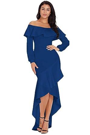 15184e63b73 Women s Off Shoulder Ruffle Long Lantern Sleeve Asymmetric Ruffle Hem Evening  Party Dresses (US 4