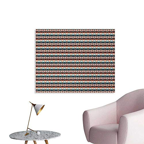 (Tudouhoho Boho Poster Print Oriental Colorful Aztec Arrow Motifs with Horizontal Monochrome Stripes Background Wall Paper Multicolor W36 xL24)