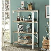 Homissue 4-Tier Modern Industrial White Bookshelf, Display Storage Rack for Living Room, Office Open Wide Etagere Bookcases Furniture, Light Oak Shelves