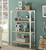 Homissue 4-Tier Modern Industrial White Bookshelf, Display Storage Rack Living Room, Office Open Wide Etagere Bookcases Furniture, Light Oak Shelves