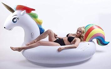 ZODGAA Nuevo Unicornio Inflable 200 Cm Flotador De Piscina Gigante Rainbow Pegasus/Flotadores De Caballos Anillo De Natación Diversión Juguetes De Agua para Niños Adultos: Amazon.es: Deportes y aire libre