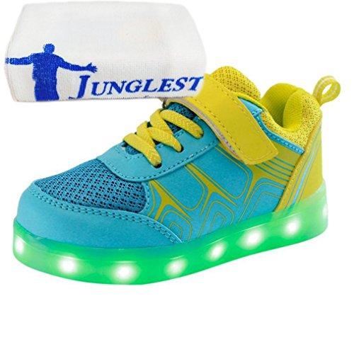 (Present:kleines Handtuch)JUNGLEST® Kinder Jungen Mädchen LED Light Sneakers Fluorescence Sp Gelb
