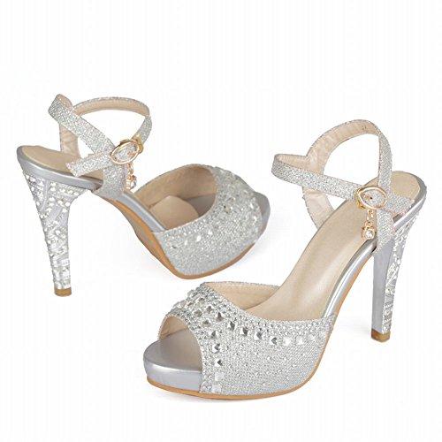 Silver Carolbar High Rhinestones Fashion Dress Women's Heel Sandals Charm nFFpWB