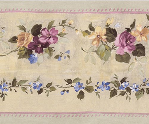 Pink Bloomed Roses on Vine Beige Floral Wallpaper Border Retro Design, Roll 15' x 5.25''