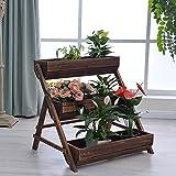 Anticorrosive Carbonized Wooden Flower Box Flower Chute Balcony Flower House Flower Pastoral Planted Vegetable Flower Stand