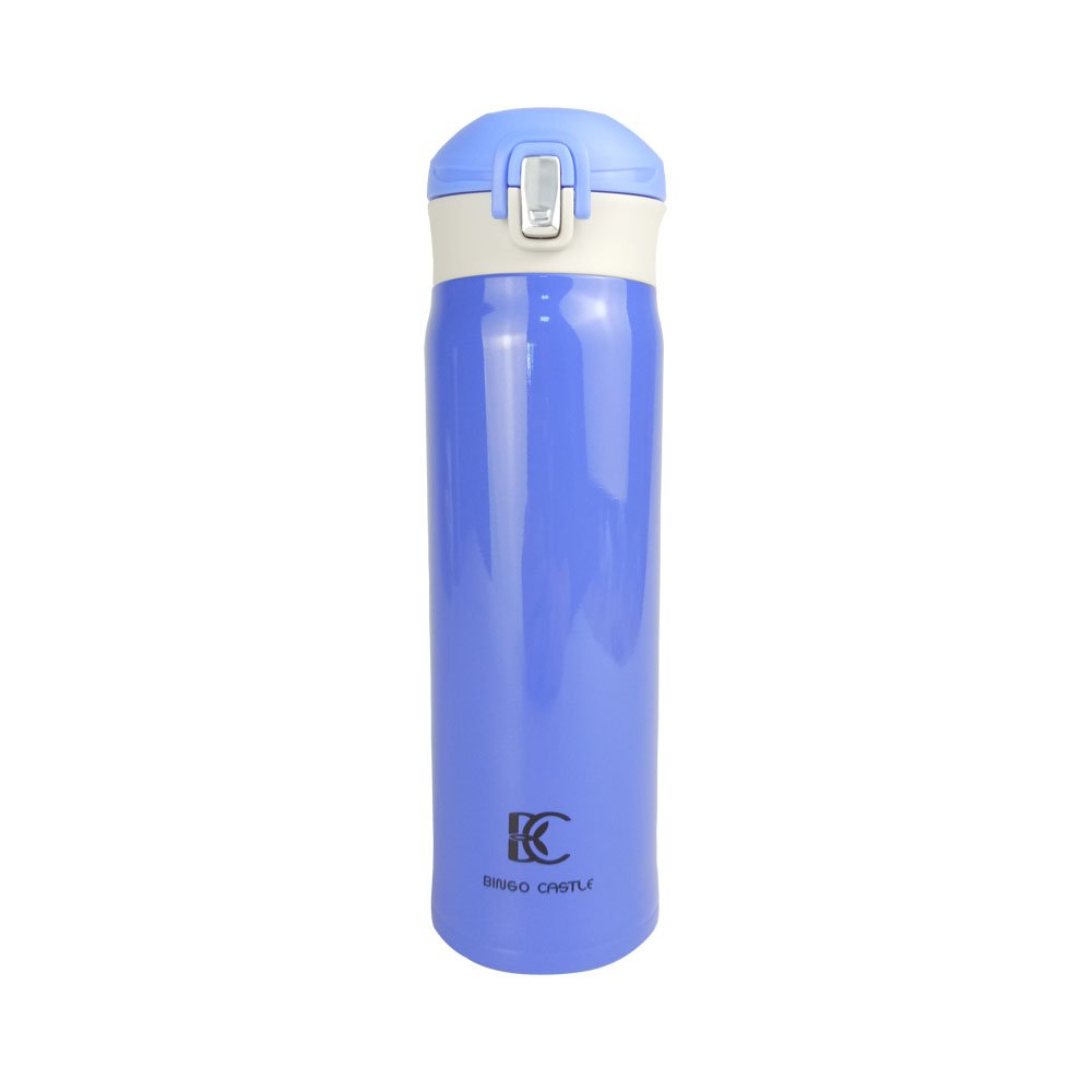 Travel Mug Thermo Water Bottle for Men and Women 17 Oz One-Touch-Open Type Vacuum Insulated Double Wall Stainless Steel BPA Free Spill-proof Blue