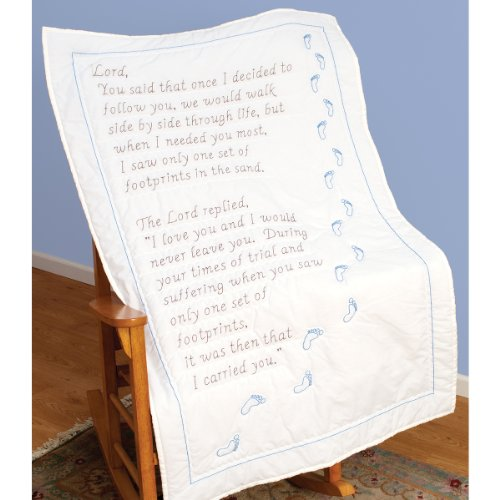 Jack Dempsey 940 493 Stamped White Lap Quilt Top, 40 by 60-Inch, Footprints