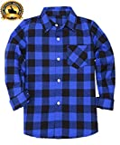 Yinggeli Little Big Boys' Long Sleeve Button Down Plaid Flannel Shirt 2-8 Years(A-E005,7T)