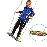 HappyPie Children Trapeze Tree Skateboard Swing with 93'' Adjustable Rope Outdoor Exercise Toy - Urban