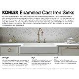 KOHLER K-19022-2-0 Park Falls Top-Mount/Undermount Utility Sink with Two Faucet Holes, White