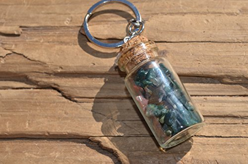 Bloodstones in a Vial Keychain