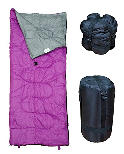 REVALCAMP Lightweight Violet/Purple Sleeping Bag Indoor & Outdoor use. Great for Kids, Youth & Adults. Ultralight and Compact Bags are Perfect for Hiking, Backpacking, Camping & Travel.