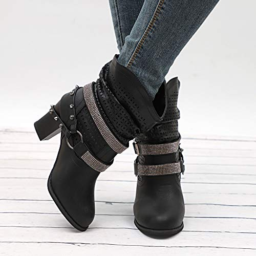 Rhinestone Buckle Boots Europe Boots Rough FALAIDUO Rock Heeled High Black States United Wind Hollow IqRwpTt