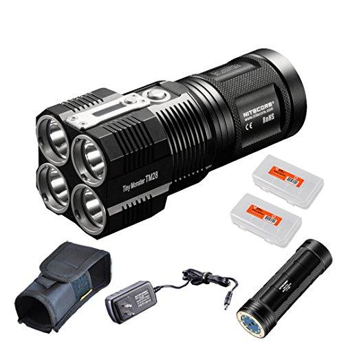 Nitecore TM28 6000 Lumen Tiny Monster Super Bright 716 Yard Rechargeable LED Flashlight, NBP68HD Battery Pack and 2xLumenTac Battery Organizers