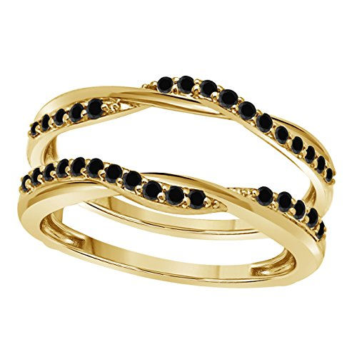 Silver Gems Factory 14K Yellow Gold Finish Delicate Bypass Infinity Style Vintage Wedding Ring Criss Cross Infinity Ring Guard Enhancer with CZ Black Sapphire (1/2 ct tw) ()