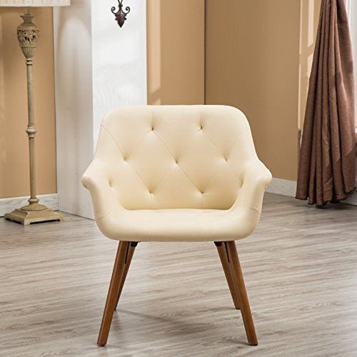 Ivory Faux Leather (Roundhill Furniture AC122IV Vauclucy Contemporary Faux Leather Diamond Tufted Accent Chair, Ivory)