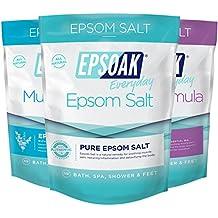 Ultimate Epsoak Epsom Salt Bath Soak Bundle (6 lbs.) – 3 pack of Sleep Formula Bath Salt, Muscle Soak Bath Salt, Original Unscented Epsom Salts 2 lbs. each