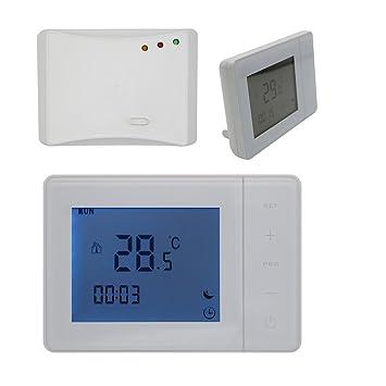 Radio frecuencia 3A 5A 16A termostato programable digital para calefaccion suelo y caldera gas - blanco o negro - Termostato Ambiente programador semanal ...